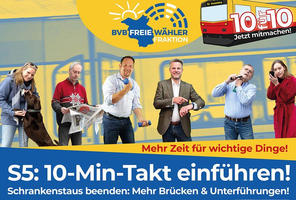 Fortsetzung unseres Einsatzes für den 10-Minuten-Takt auf der S5 – in Strausberg am 16. Juli – in Petershagen am 9. Juli – in Fredersdorf am 2. Juli